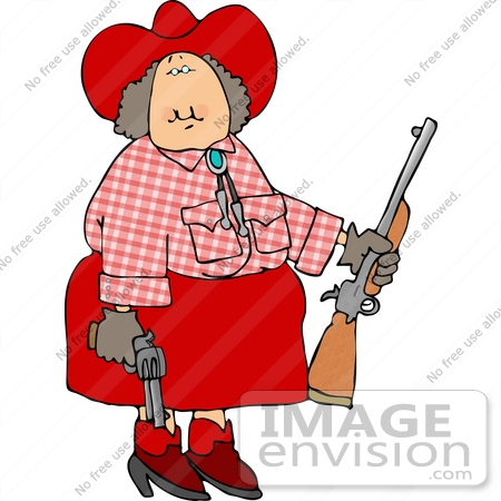 #12625 Annie Oakley Cowgirl With Guns Clipart by DJArt