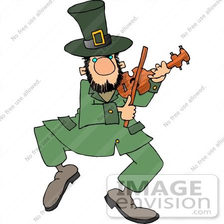 dancing leprechaun playing violin clipart | #12636djart