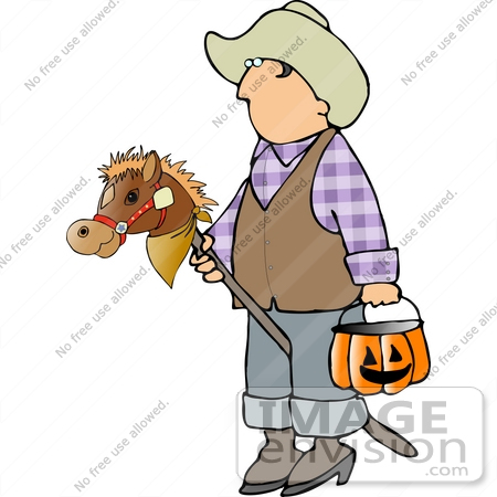 #12637 Boy in a Cowboy Costume on Halloween Clipart by DJArt