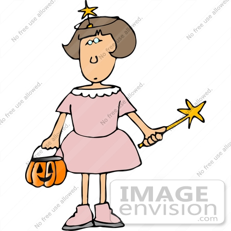 #12641 Girl in a Fairy Costume on Halloween Clipart by DJArt