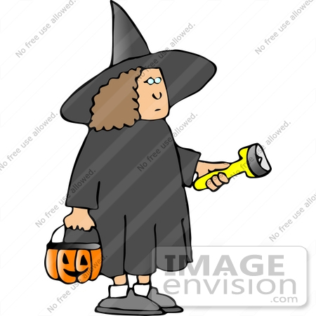 #12646 Girl in a Witch Costume on Halloween Clipart by DJArt