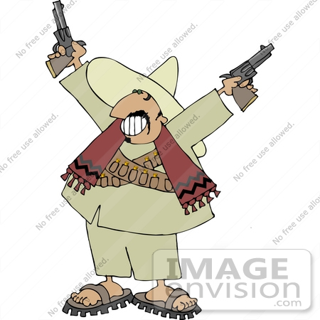 #12650 Male Mexican Bandito With Pistils Clipart by DJArt