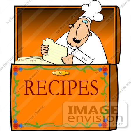 chef reading a card in a recipe box clipart 12684 by djart rh imageenvision com recipe card clipart recipe card clip art borders