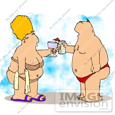 #12699 Man and Woman With Alcoholic Beverages on the Beach Clipart by DJArt