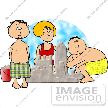 #12700 Two Boys and a Girl Building a Sand Castle Clipart by DJArt
