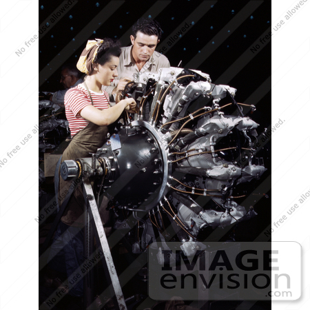 #12747 Picture of a Man and Woman Working on an Airplane Engine by JVPD