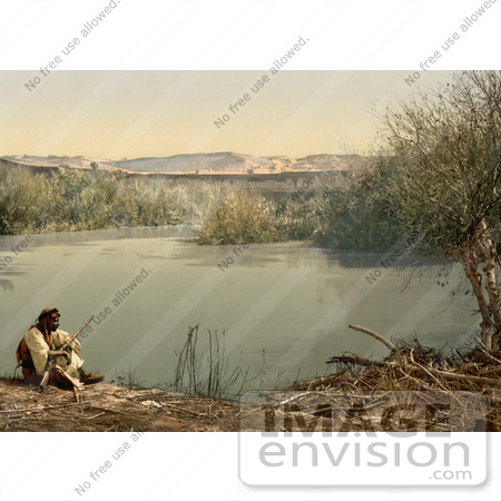 #12880 Picture of an Arabian Man on the Shore of the River Jordan by JVPD