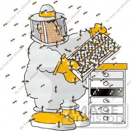 #13026 Caucasian Apiarist Beekeeper With Bees Clipart by DJArt