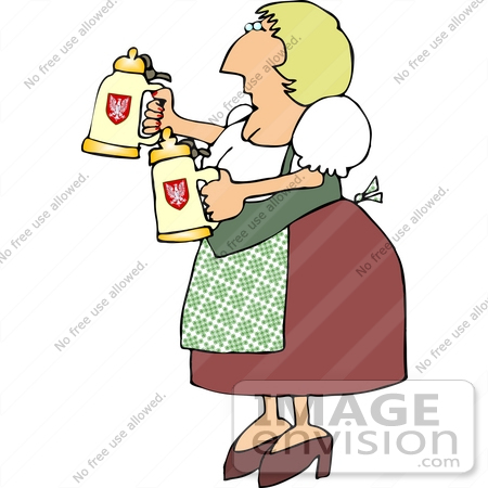 #13028 German Beer Maiden Clipart by DJArt