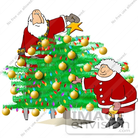 Mr and Mrs Claus Decorating the Christmas Tree Clipart   #13032 by ...