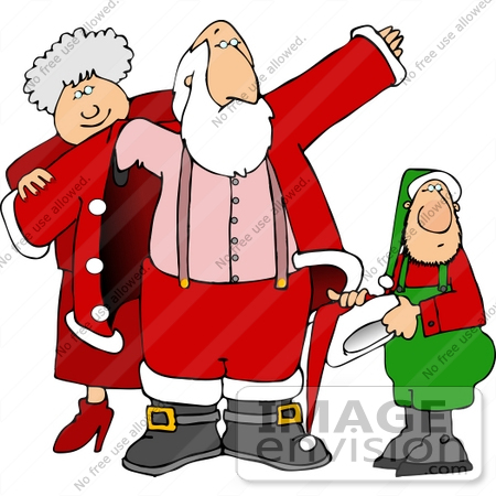 #13034 Mrs Claus Helping Santa Put on His Coat Clipart by DJArt