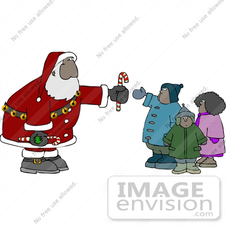 #13039 African American Santa Claus and Children Clipart by DJArt