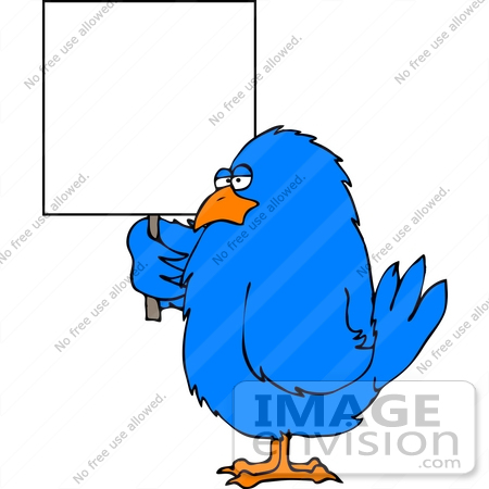 #13042 Blue Bird Holding a Blank Sign Clipart by DJArt