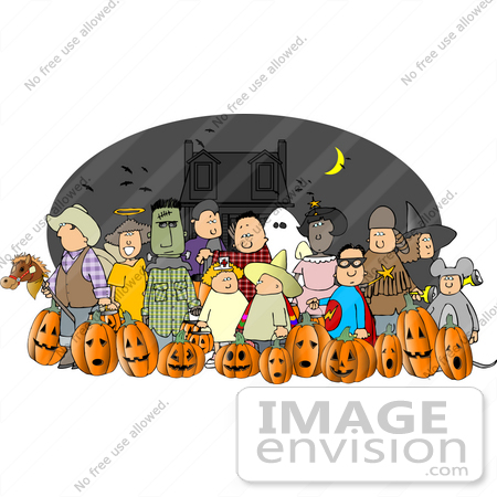 #13055 Large Group of Trick or Treaters in Costumes on Halloween Near a Haunted House Clipart by DJArt