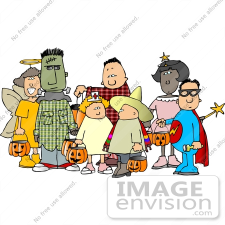 #13057 Group of Trick Or Treaters in Costume on Halloween Clipart by DJArt