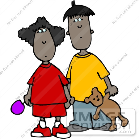 #13066 Two African American Children, Brother and Sister Clipart by DJArt