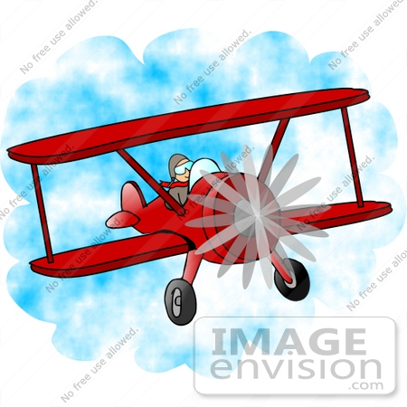 Clipart of a pilot flying a red biplane in a cloudy blue sky 0012