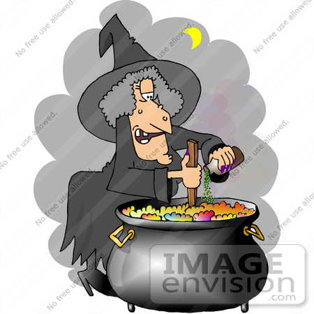 #13088 Witch Adding Ingredients to Her Potion in a Cauldron Clipart by DJArt
