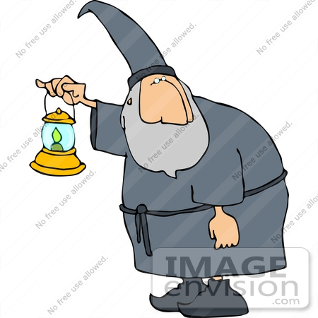#13092 Wizard Carrying a Lantern Clipart by DJArt