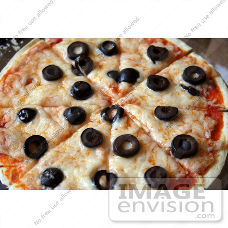 #13099 Photo of a Cheese and Olive Tortilla Pizza by Jamie Voetsch