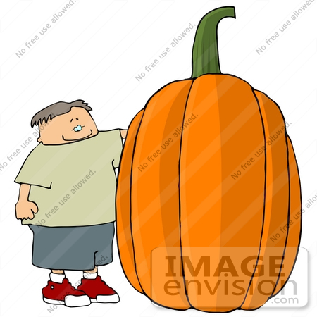 #13106 Cacuasian Boy Standing by a Giant Pumpkin Clipart Illustration by DJArt