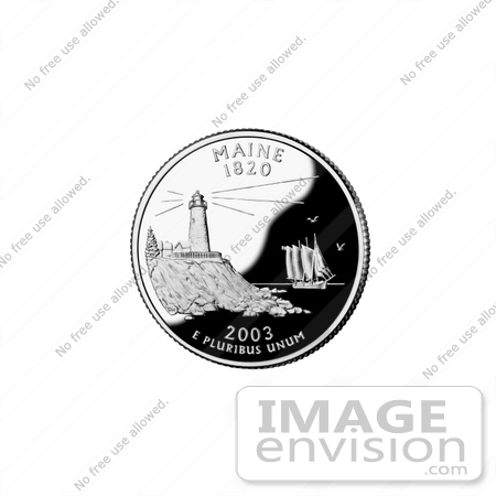 #13137 Picture of Pemaquid Point Light and Ship on the Maine State Quarter by JVPD
