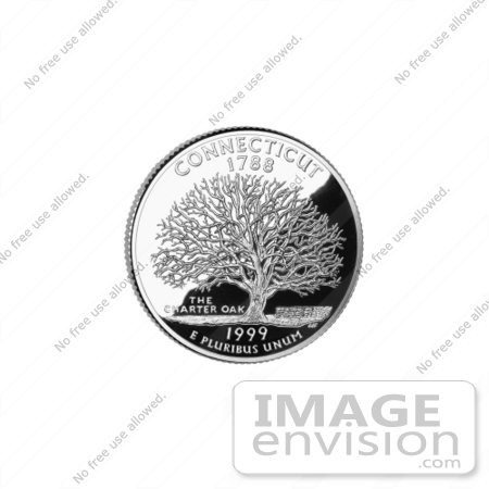 #13138 Picture of Samuel Wylly's Oak Tree on the Connecticut State Quarter by JVPD