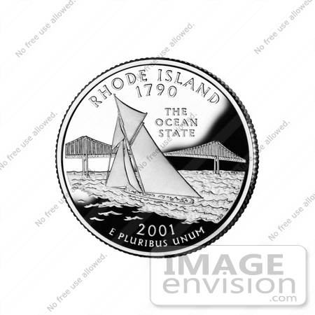 #13141 Picture of a Sailboat by Pell Bridge in Narragansett Bay on the Rhode Island State Quarter by JVPD