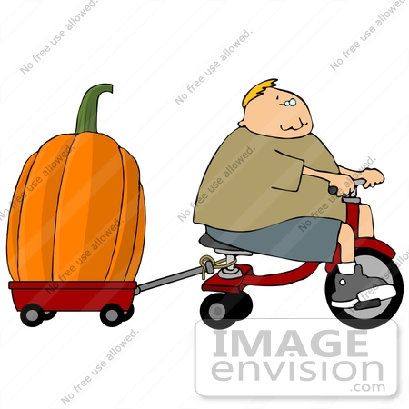 #13208 Boy Hauling a Giant Pumpkin With a Tricycle and Red Wagon Clipart by DJArt