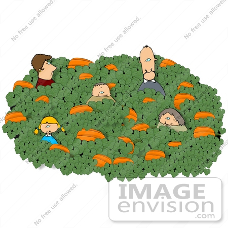 #13211 Caucasian Family in a Pumpkin Patch at Halloween Time Clipart by DJArt