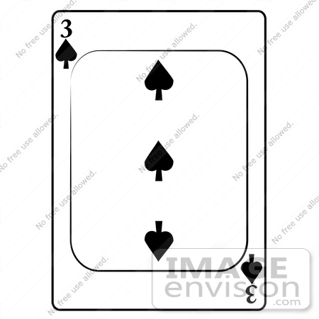 #13263 3 of Spade Playing Card Clipart by DJArt
