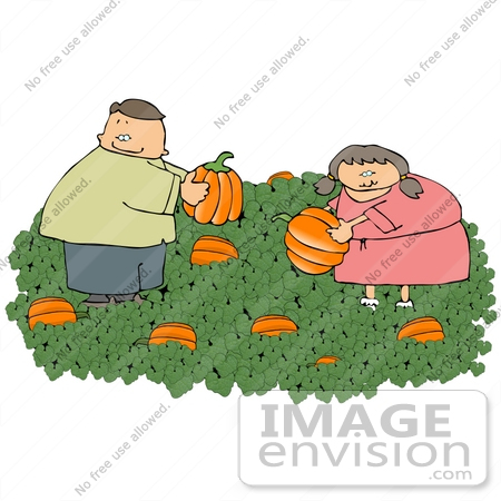#13271 Brother and Sister, Caucasian Children, in a Halloween Pumpkin Patch Clipart by DJArt