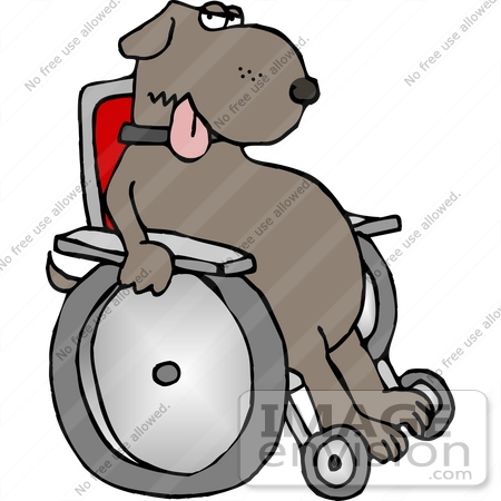 #13280 Injured Dog in a Wheelchair Clipart by DJArt