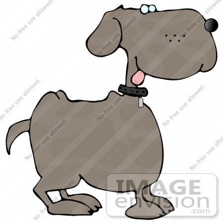 #13281 Profile of a Dog With its Tongue Hanging Out Clipart by DJArt