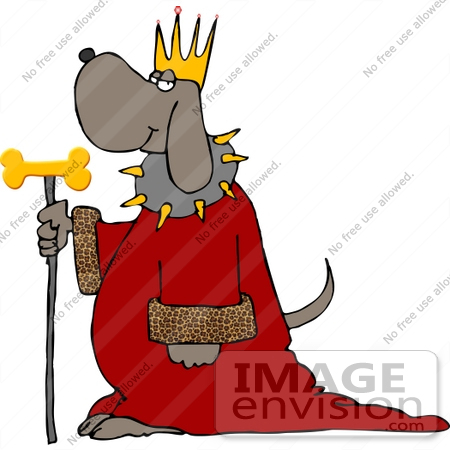 #13284 King Dog With Crown, Robe and Dog Bone Scepter Staff Clipart by DJArt