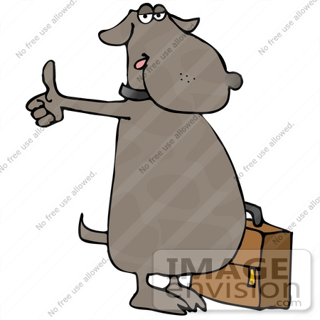 #13286 Brown Dog With Suitcase, Hitching a Ride Clipart by DJArt