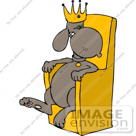 king dog in a crown sitting on a throne clipart 13290 by djart rh imageenvision com thorn clipart throne clipart black and white