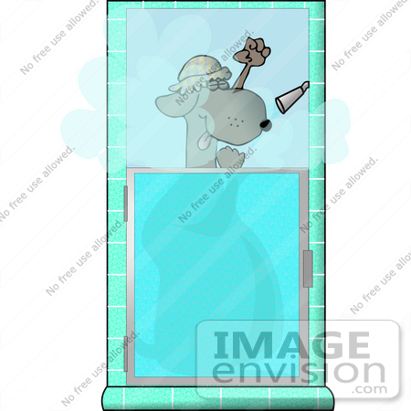 #13291 Dog in a Shower Clipart by DJArt