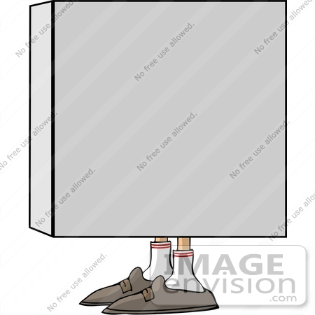 #13297 Box With Feet Clipart by DJArt