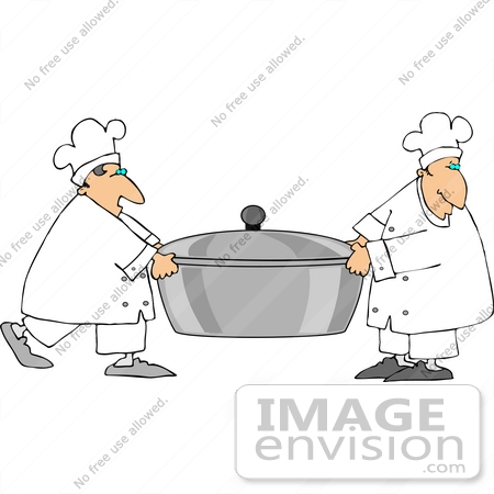 #13317 Two Chef's Carrying a Pot Clipart by DJArt