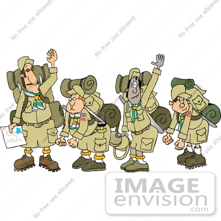 13330 Boyscout Troop With Camping Gear Clipart By DJArt
