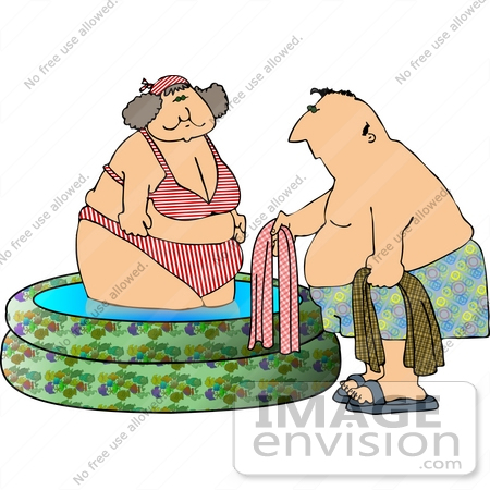 #13346 Overweight Middle Aged Couple at a Swimming Pool Clipart by DJArt