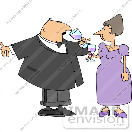 #13351 Caucasian Couple at a Party Clipart by DJArt