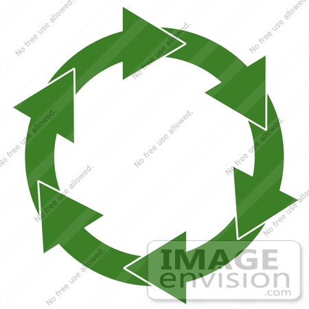 #13360 Green Circle of Arrows Symbolizing Recycling Clipart by DJArt