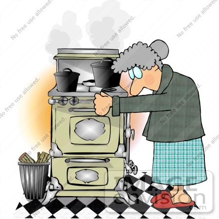 #13364 Old Caucasian Woman Using a Very Old Wood Kitchen Stove Clipart by DJArt