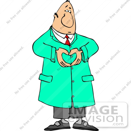 #13384 Caucasian Male Cardiologist Doctor Forming a Heart With His Hands Clipart by DJArt