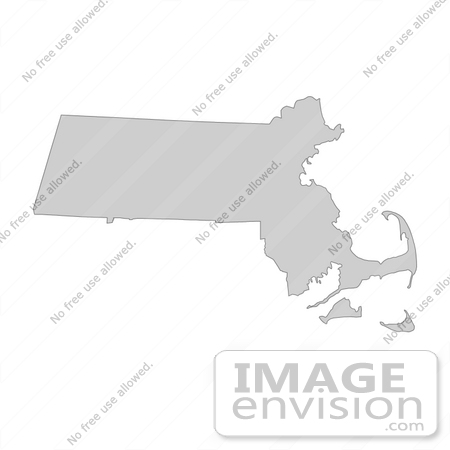 #13398 Picture of a Map of Massachusetts of the United States of America by JVPD