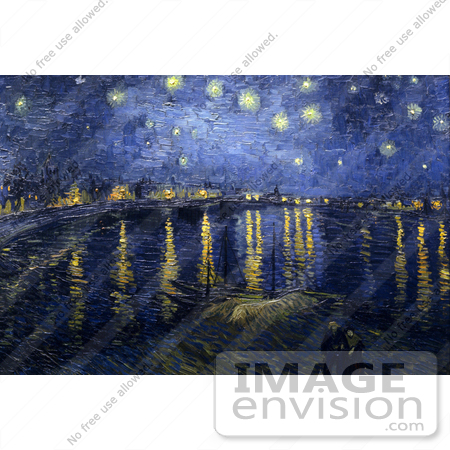 #13406 Picture of the Starry Night over the Rhone Painting by Van Gogh by JVPD