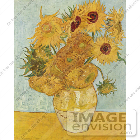 #13409 Picture of a Vase with Twelve Sunflowers by Vincent Van Gogh by JVPD