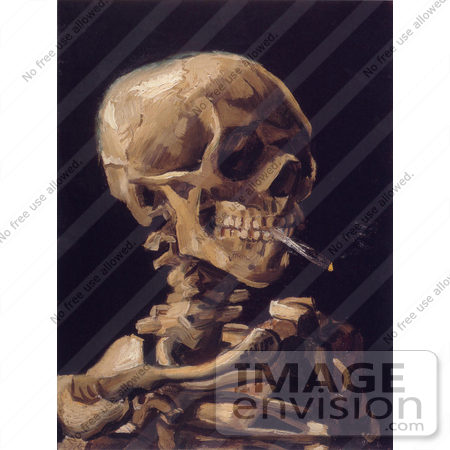 #13410 Picture of Vincent Van Gogh's Painting of a Human Skeleton Smoking a Cigarette by JVPD
